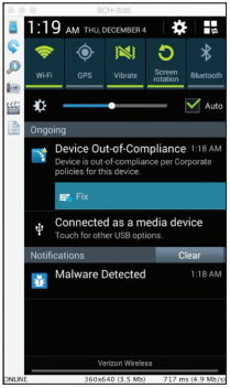 Malware Notification on a device