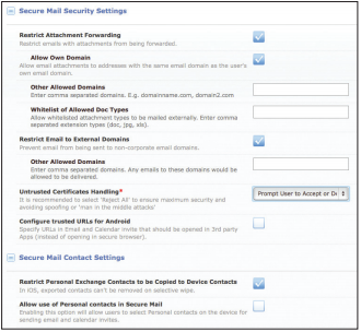 secure mail security settings